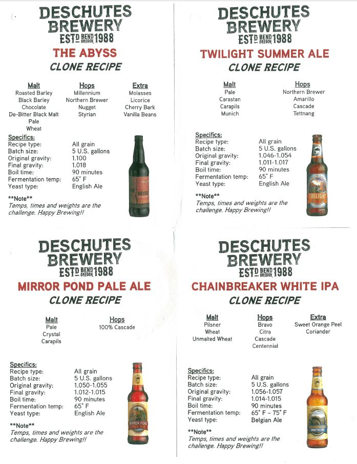 Deschutes Clone Recipes