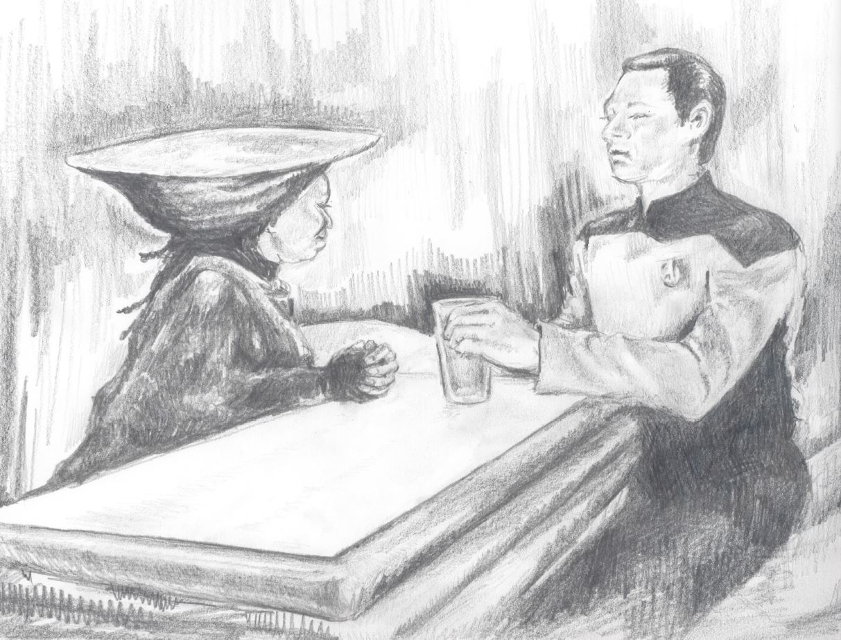 A Sketch of Data Having a Beer (Star Trek: TNG)