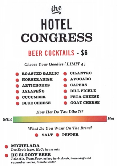 Beer Cocktail Menu at the Hotel Congress