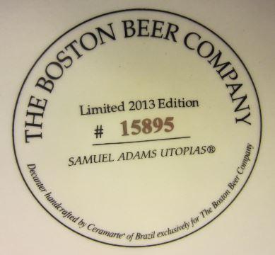 Bottom of Samuel Adams 2013 Utopias Bottle