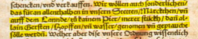 Reinheitsgebot of 1516 Highlighted