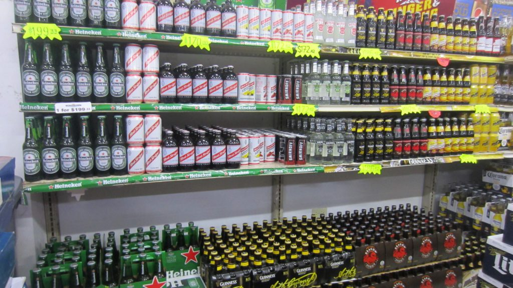 [Beer Selection in Negril at Quality Traders.]