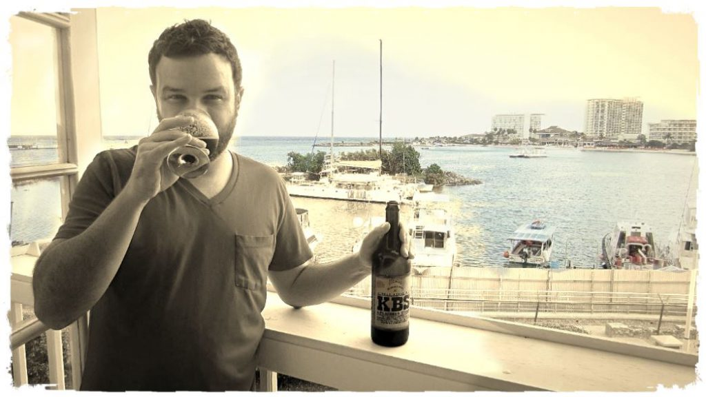 [Daniel J. Leonard sipping Founders Kentucky Breakfast Stout in Ocho Rios.]