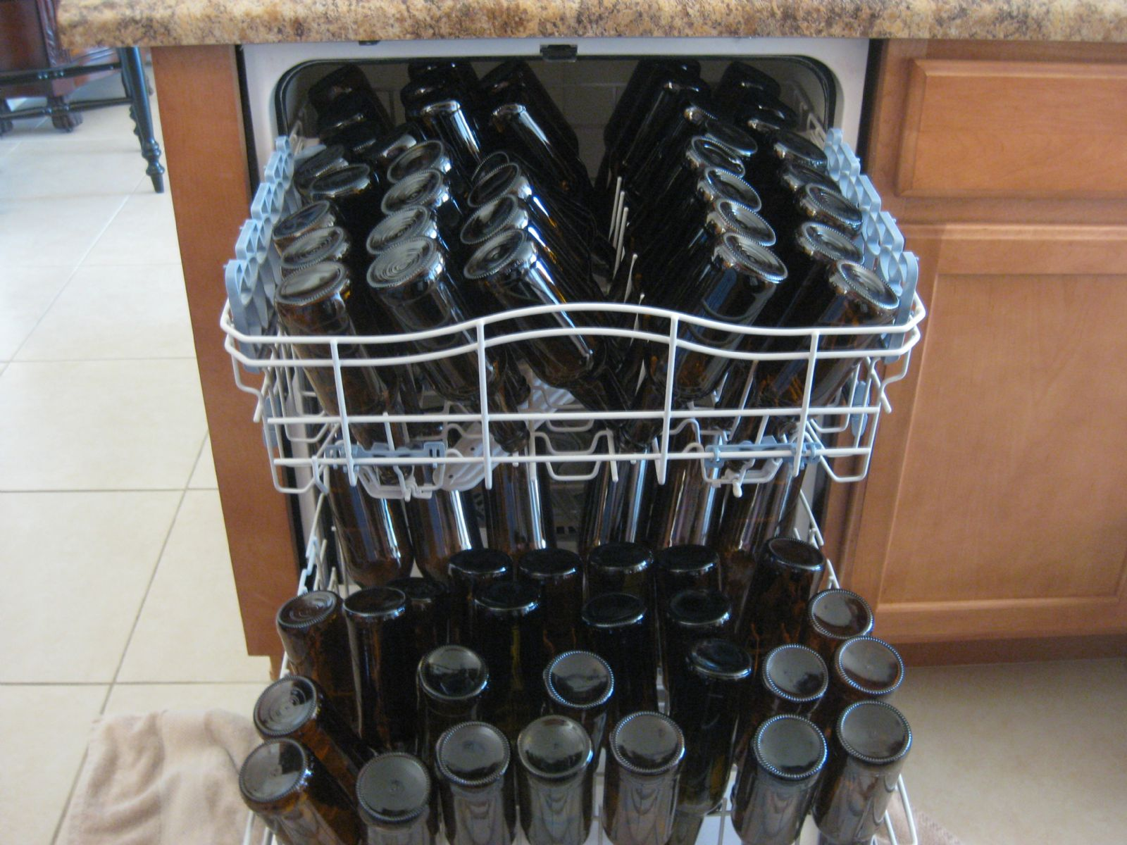 Using a Dish Washer to Clean Beer Bottles