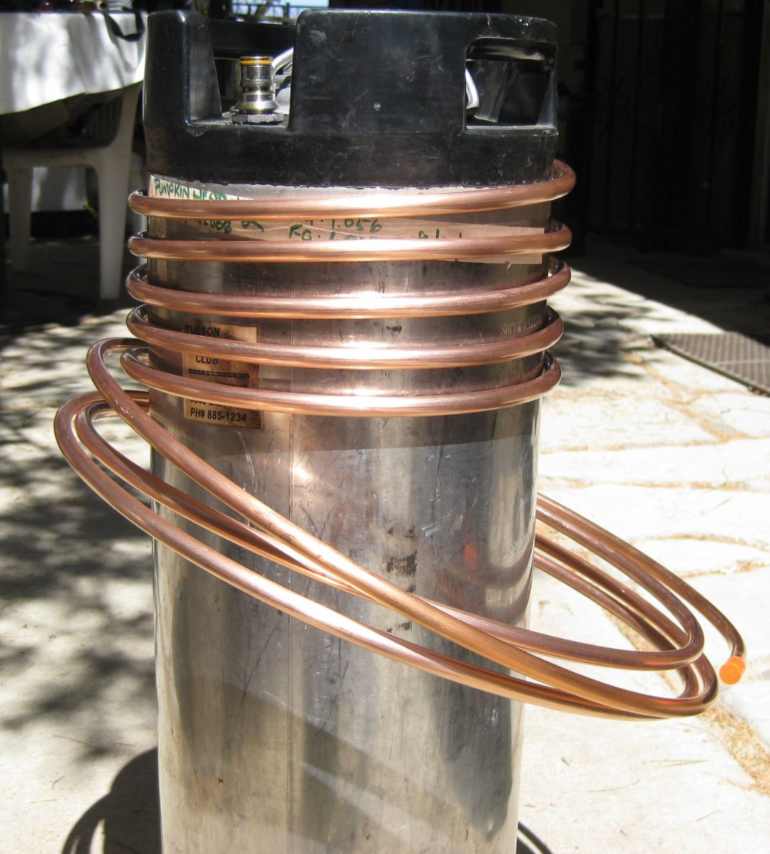 Copper Coil Wrapped Around Beer Keg