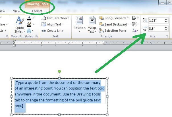 Using the Format tab to Manually Enter an Exact Label Size in Microsoft Word