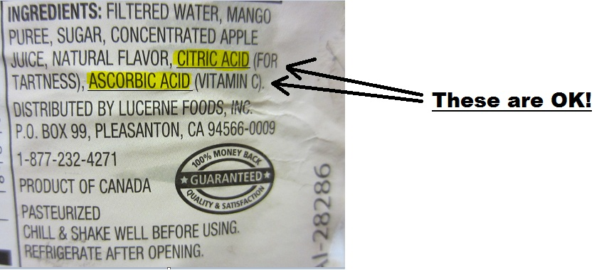 Citric Acid and Ascorbic Acid as Juice Preservatives