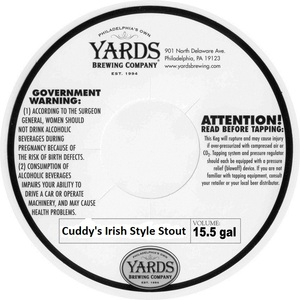Yards Brewing Company Cuddy's Irish Style Stout