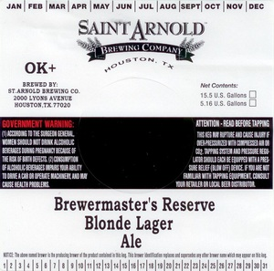 Saint Arnold Brewing Company Brewmaster's Reserve Blonde Lager
