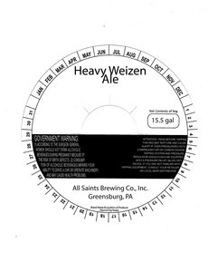 All Saints Brewing Co., Inc. Heavy Weizen Ale