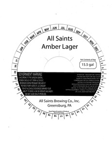 All Saints Brewing Co., Inc. All Saints Amber Lager