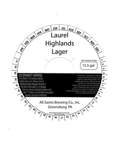 All Saints Brewing Co., Inc. Laurel Highlands Lager