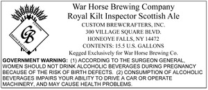 War Horse Brewing Company Royal Kilt Inspector