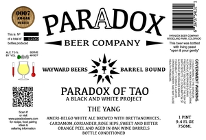 Paradox Beer Company Inc The Yang