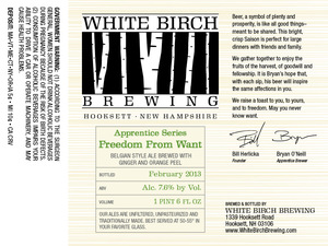 White Birch Brewing Freedom From Want