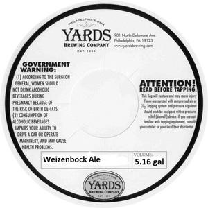Yards Brewing Company Weizenbock Ale