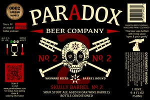 Paradox Beer Company Inc Skully Barrel No. 2