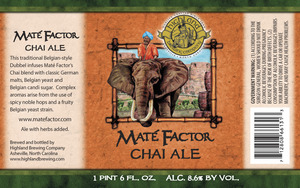 Highland Brewing Co Mate Factor Chai