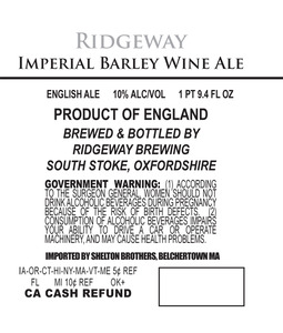 Ridgeway Brewing Imperial Barley Wine Ale May 2013