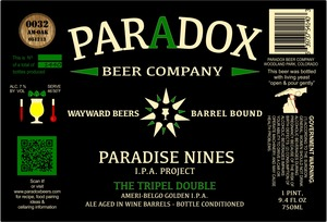 Paradox Beer Company Inc The Tripel Double