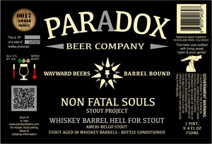 Paradox Beer Company Inc Whiskey Barrel Hell For Stout