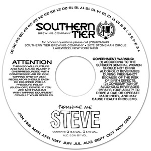 Southern Tier Brewing Company Steve Farmhouse Ale