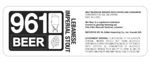 961 Beer Lebanese Imperial Stout May 2013