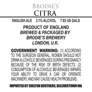 Brodie's Brewery Citra May 2013