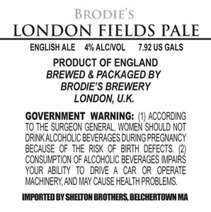 Brodie's Brewery London Fields Pale