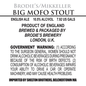 Brodie's Brewery Big Mofo Stout May 2013