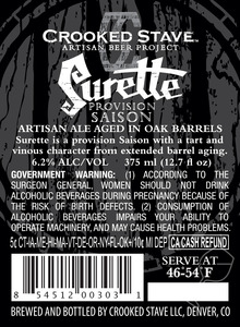 Surette Artisan Ale Aged In Oak Barrels May 2013