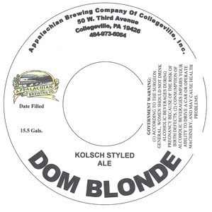 Appalachian Brewing Co Dom Blonde May 2013