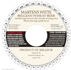 Martens Witte Belgian Wheat Beer June 2013