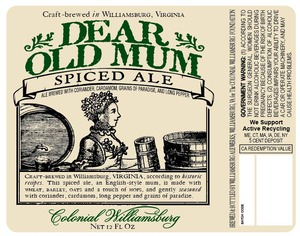 Williamsburg Alewerks Dear Old Mum