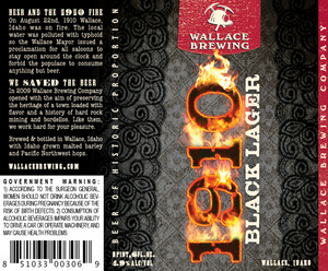 Wallace Brewing Copmany 1910 Black Lager