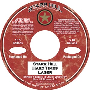 Starr Hill Hard Times Lager