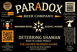 Paradox Beer Company Inc The Golden Bearded Guard
