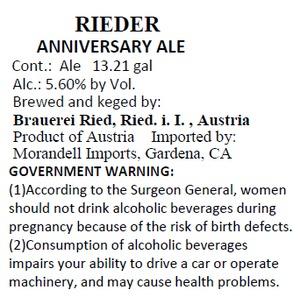 Rieder Anniversary Ale