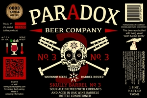 Paradox Beer Company Inc Skully Barrel No. 3
