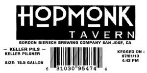 Hopmonk Tavern Keller Pils