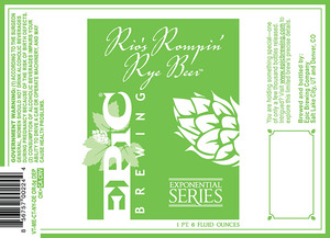 Epic Brewing Company Rio's Rompin' Rye
