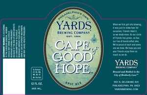 Yards Brewing Company Cape Of Good Hope