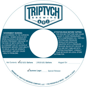 Triptych Brewing Summer Lager