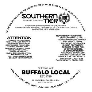 Southern Tier Brewing Company Buffalo Local Est 1789 Special Ale