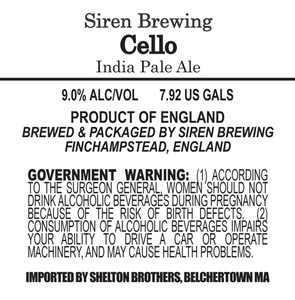 Siren Brewing Cello