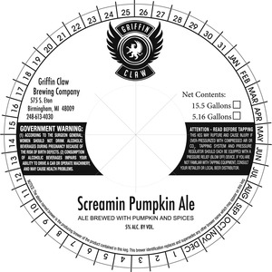 Griffin Claw Brewing Company Screamin Pumpkin
