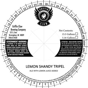 Griffin Claw Brewing Company Lemon Shandy Tripel