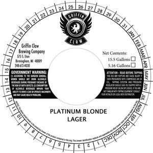 Griffin Claw Brewing Company Platinum Blonde
