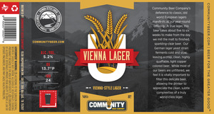 Community Beer Company Vienna Lager August 2013