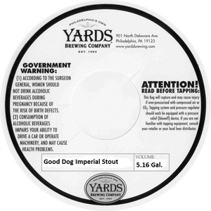 Yards Brewing Company Good Dog Imperial Stout